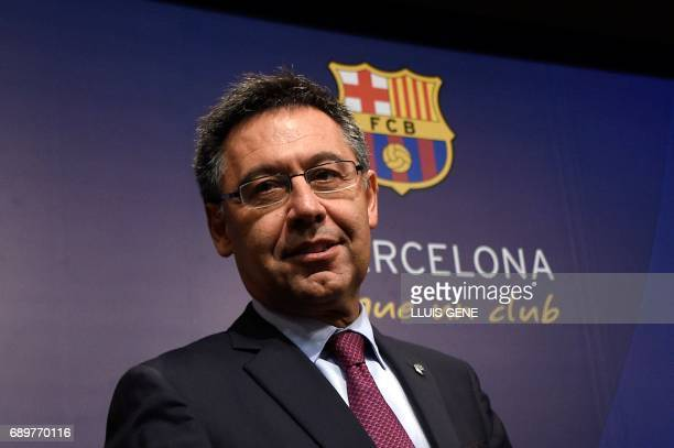 Barcelona's football club president Josep Maria Bartomeu lookson during a press conference on May 29 2017 at Camp Nou stadium in Barcelona to...