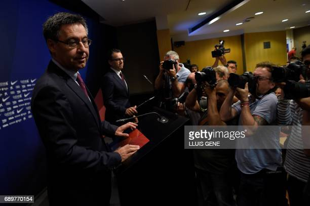 Barcelona's football club president Josep Maria Bartomeu poses before a press conference on May 29 2017 at Camp Nou stadium in Barcelona to announce...
