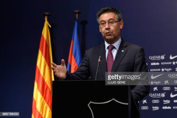 Barcelona's football club president Josep Maria Bartomeu speaks during a press conference on May 29 2017 at Camp Nou stadium in Barcelona to announce...