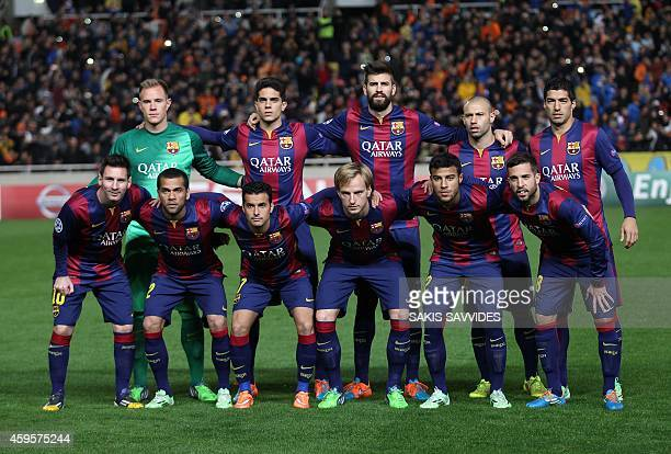 Barcelona's football team poses for a photo before their UEFA Champions League group F football match against APOEL FC at GSP Stadium in Nicosia on...