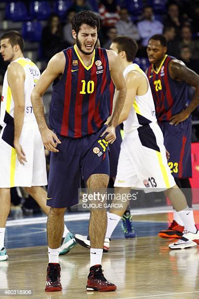 Barcelona's forward Alejandro Abrines gestures during the Euroleague group C basketball match FC Barcelona vs Fenerbahce Ulker Istanbul at the Palau...