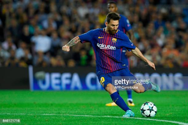 Barcelona's forward from Argentina Lionel Messi kicks the ball during the UEFA Champions League Group D football match FC Barcelona vs Juventus at...