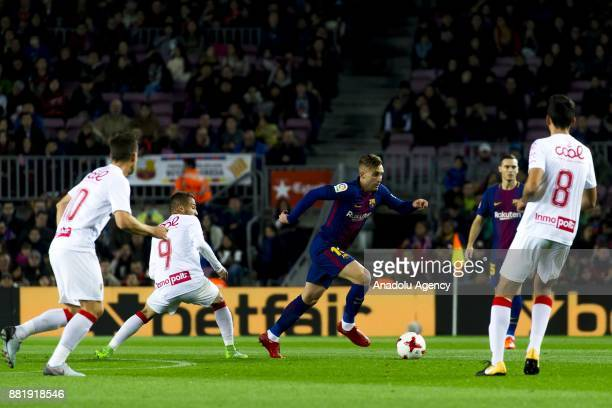 Barcelona's forward Gerard Deulofeu in action during the Spanish Copa del Rey football match between FC Barcelona and Murcia CF at the Camp Nou...