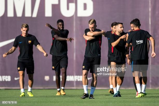 Barcelona's forward Gerard Deulofeu takes part in a training session at the sports Center FC Barcelona Joan Gamper in Sant Joan Despi near Barcelona...