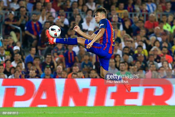 Barcelona's forward Munir El Haddadi controls the ball during the second leg of the Spanish Supercup football match between FC Barcelona and Sevilla...