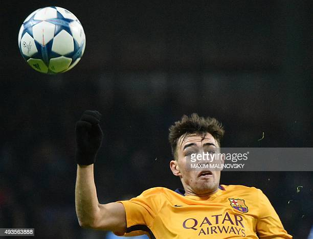 Barcelona's forward Munir El Haddadi eyes the ball during the UEFA Champions League group E football match between FC BATE Borisov and FC Barcelona...