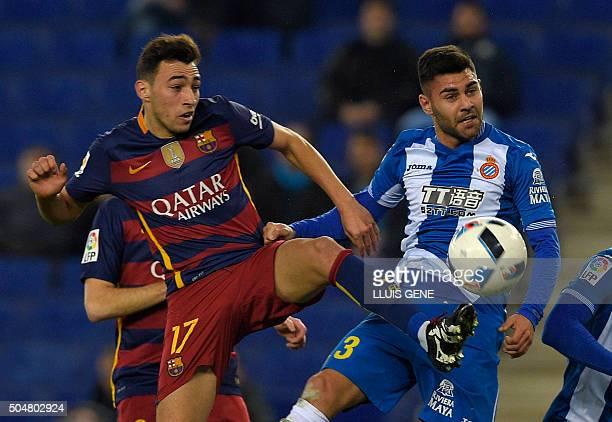 Barcelona's forward Munir El Haddadi vies with Espanyol's defender Ruben Duarte during the Spanish Copa del Rey round of 16 second leg football match...