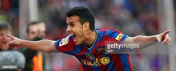 Barcelona's forward Pedro Rodriguez celebrates after scoring during the Spanish League football match against Valladolid at Camp Nou stadium in...