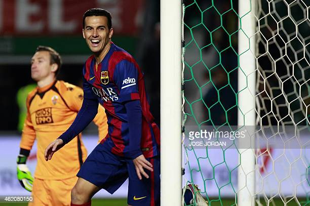 Barcelona's forward Pedro Rodriguez celebrates his goal during the Spanish league football match Elche FC vs FC Barcelona at the Martinez Valero...