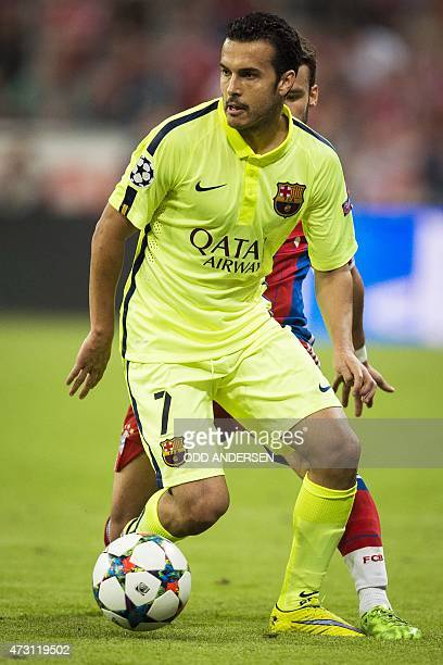 Barcelona's forward Pedro Rodriguez controls the ball during the UEFA Champions League semifinal second leg football match FC Bayern Munich vs FC...