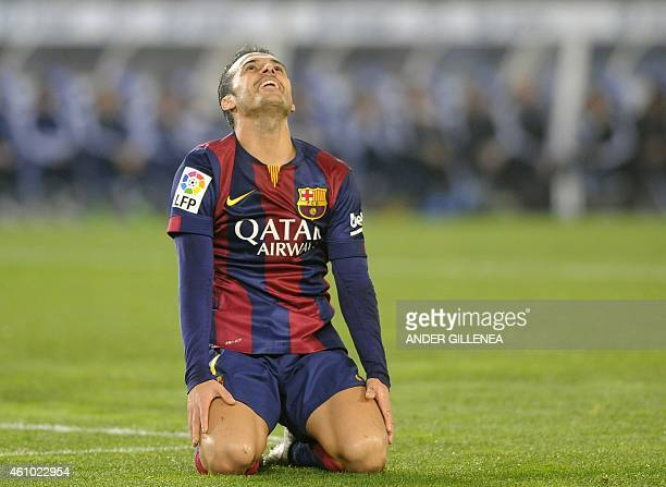 Barcelona's forward Pedro Rodriguez gestures during the Spanish league football match Real Sociedad de Futbol vs FC Barcelona at the Anoeta stadium...