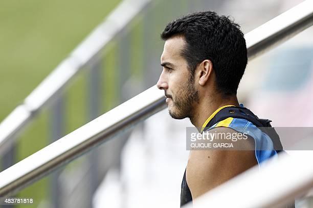 Barcelona's forward Pedro Rodriguez takes part in a training session at the Sports Center FC Barcelona Joan Gamper in Sant Joan Despi near Barcelona...