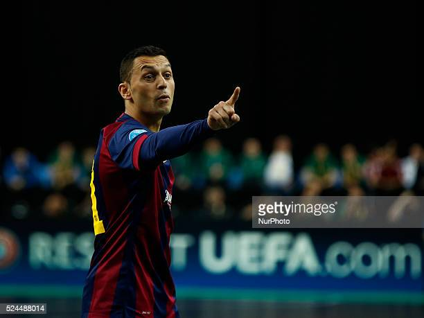 Barcelona's forward Saad reacts during the UEFA Futsal Cup semifinal match between ISK Dina Moskva and Kairat Almaty at the Meo Arena in Lisbon...