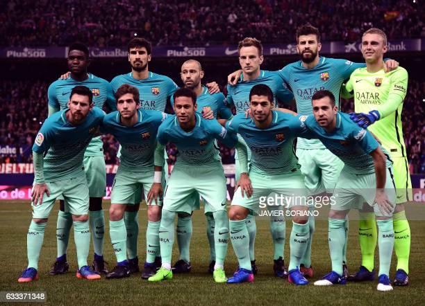 Barcelona's French defender Samuel Umtiti Barcelona's Portuguese midfielder Andre Gomes Barcelona's Argentinian defender Javier Mascherano...