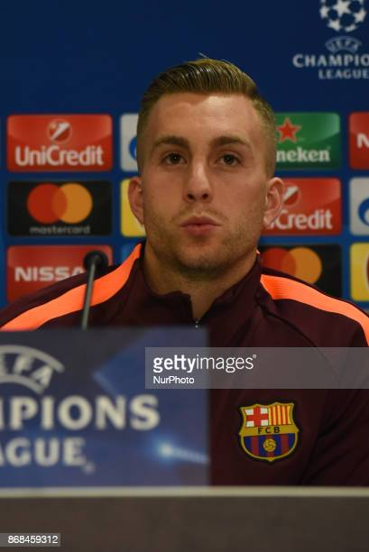 Barcelona's Gerard Deulofeu attends a press conference at Karaiskaki Stadium in Piraeus near Athens Greece on Oct 30 2017 Barcelona will play against...