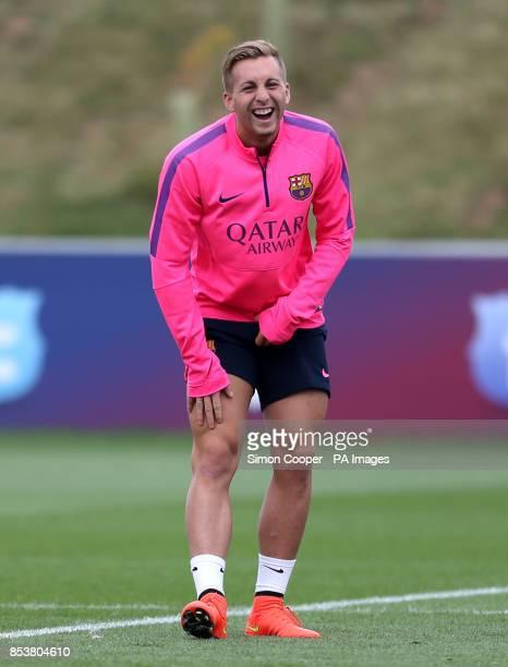 Barcelona's Gerard Deulofeu during the training session at St George's Park BurtonUponTrent
