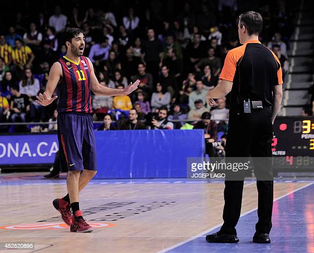 Barcelona's guard Juan Carlos Navarro argues with a referee during the Euroleague basketball match FC Barcelona vs Fenerbahce Ulker Istanbul at Palau...
