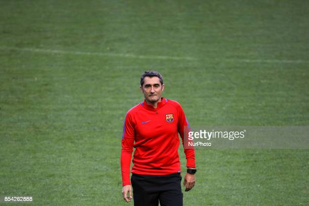 Barcelonas head coach Ernesto Valverde during the training session at Alvalade stadium in Lisbon on September 26 on the eve of the UEFA Champions...