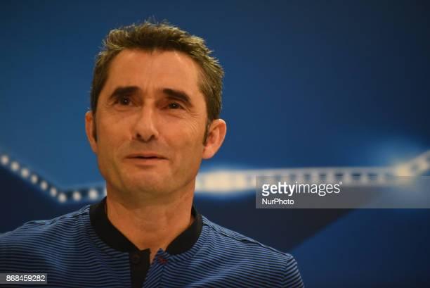 Barcelona's head coach Ernesto Valverde speaks during a press conference at Karaiskaki Stadium in Piraeus near Athens Greece on Oct 30 2017 Barcelona...