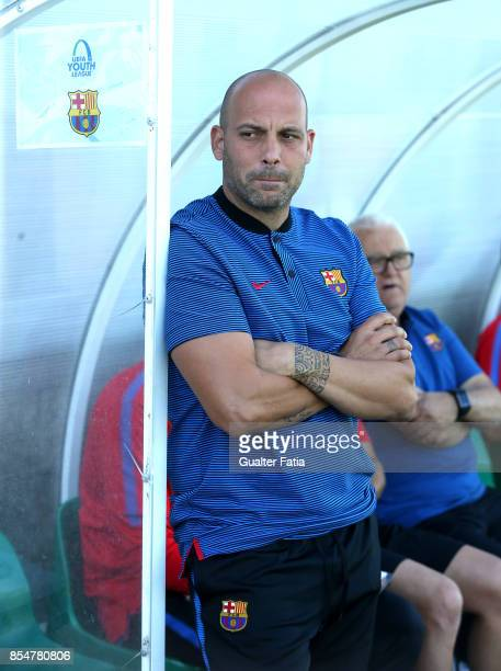Barcelona's head coach Gabriel De La Torre before the start of the UEFA Youth League match between Sporting CP and FC Barcelona at CGD Stadium...