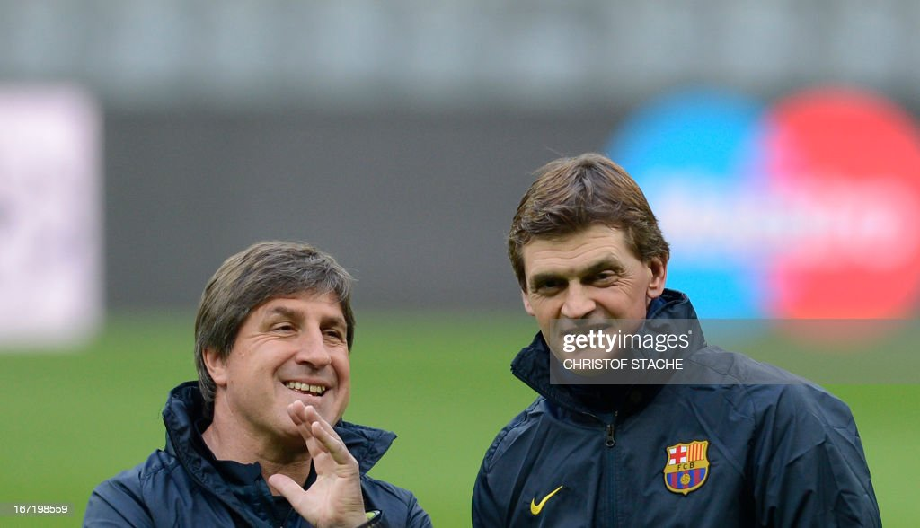 Barcelona's headcoach Tito Vilanova (R) speaks with his assistant Jordi Roura during the final team training on the eve of the UEFA Champions League semi final first leg football match between FC Bayern Munich and FC Barcelona at the arena in Munich, southern Germany, on April 22, 2013. The semi final match will take place on April 23, 2013.