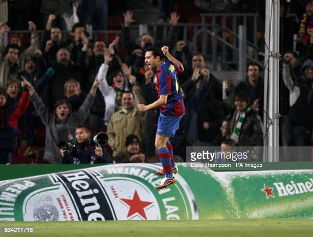 Barcelona's Hernandez Xavi celebrates scoring his sides first goal of the game