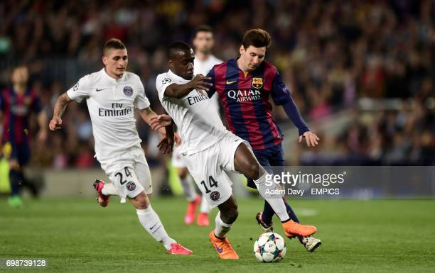 Barcelona's Lionel Messi and Paris SaintGermain's Blaise Matuidi battle for the ball