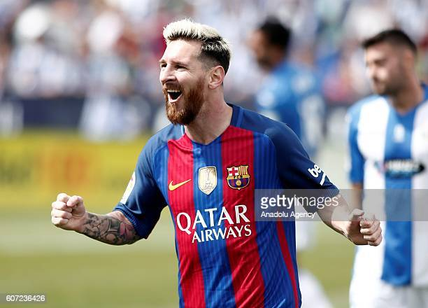 Barcelona's Lionel Messi celebrates after scoring a goal during the Spanish La Liga soccer match between FC Barcelona and Leganes at Butarque Stadium...