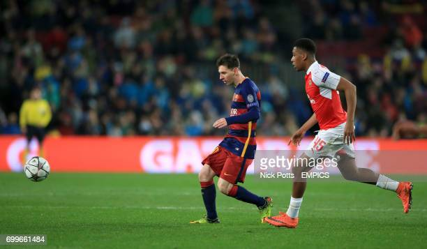Barcelona's Lionel Messi gets away from Arsenal's Alex Iwobi