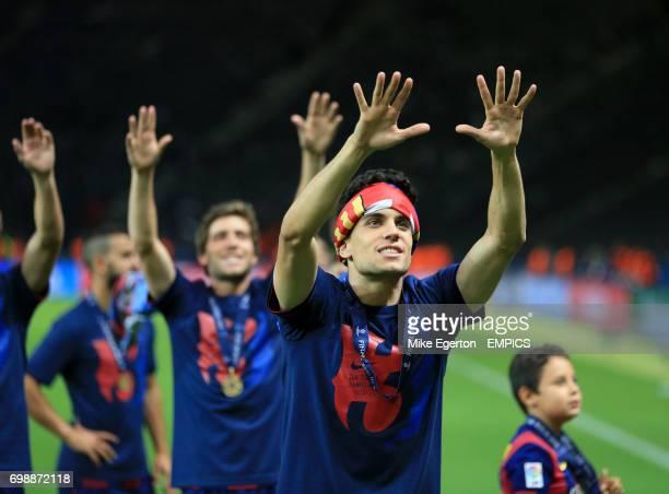 Barcelona's Marc Bartra celebrates