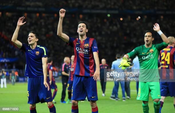 Barcelona's Marc Bartra Sergio Busquets and Claudio Bravo celebrate