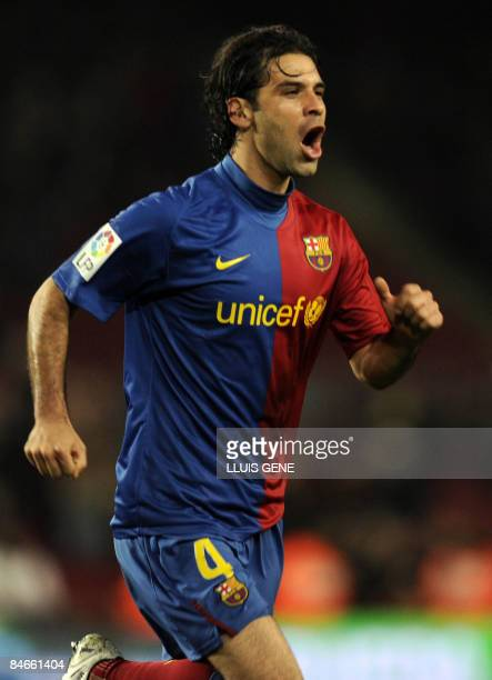 Barcelona's Mexican defender Rafael Márquez celebrates after scoring during the Spanish Kings Cup semifinal match Barcelona vs Mallorca at the Camp...