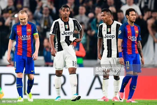 Barcelona's midfielder Andres Iniesta and Barcelona's Brazilian forward Neymar react during as Juventus' defender from Brazil Alex Sandro and...