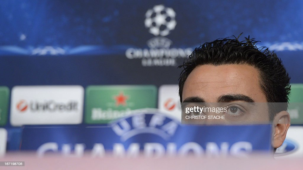 Barcelona's midfielder Xavi Hernandez attends a press conference on the eve of the UEFA Champions League semi final first leg football match between FC Bayern Munich and FC Barcelona at the arena in Munich, southern Germany, on April 22, 2013. The semi final match will take place on April 23, 2013. AFP PHOTO/CHRISTOF STACHE