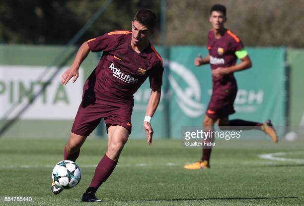 Barcelona's Monchu in action during the UEFA Youth League match between Sporting CP and FC Barcelona at CGD Stadium Aurelio Pereira on September 27...
