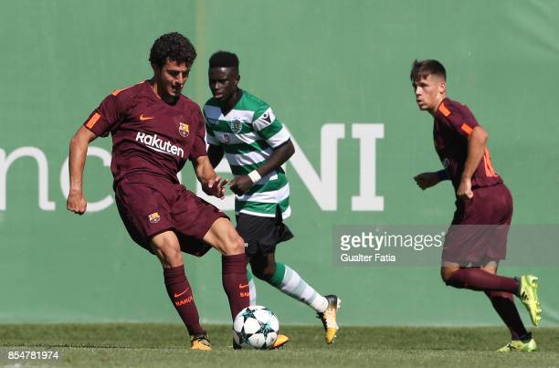 Barcelona's Morey in action during the UEFA Youth League match between Sporting CP and FC Barcelona at CGD Stadium Aurelio Pereira on September 27...