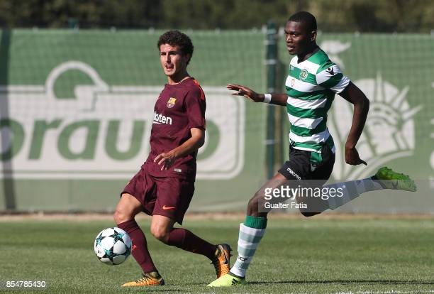 Barcelona's Morey with Sporting CP Rafael Leao in action during the UEFA Youth League match between Sporting CP and FC Barcelona at CGD Stadium...