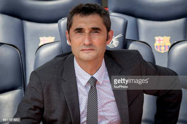 FC Barcelona's new head coach Ernesto Valverde gestures during a press conference for his presentation at Camp Nou stadium in Barcelona Spain on June...