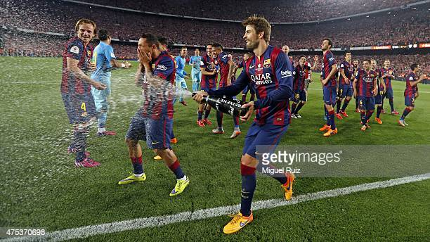 Barcelona's players celebrate after winning the Copa del Rey Final between Athletic Club and FC Barcelona at Camp Nou on May 30 2015 in Barcelona...