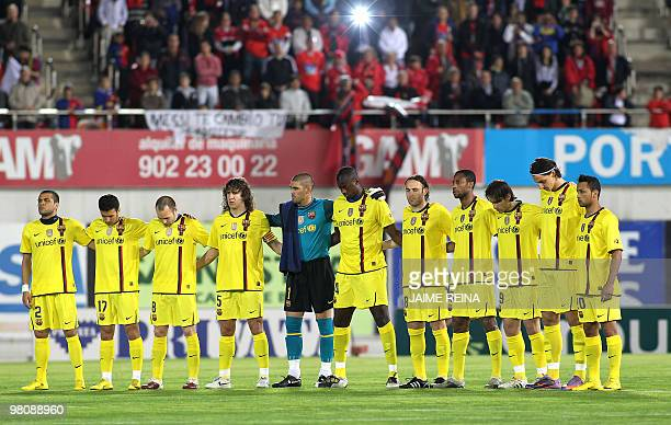 Barcelona's players pose for a group photo prior to their Spanish league football match on March 27 2010 at Ono Stadium in Palma de Mallorca AFP...