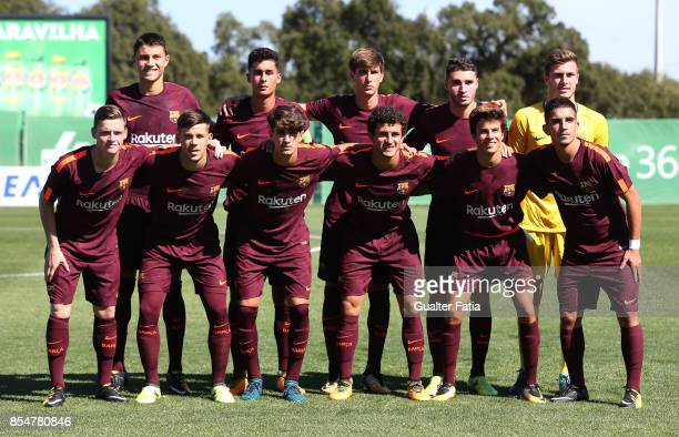 Barcelona's players pose for a team photo before the start of the UEFA Youth League match between Sporting CP and FC Barcelona at CGD Stadium Aurelio...
