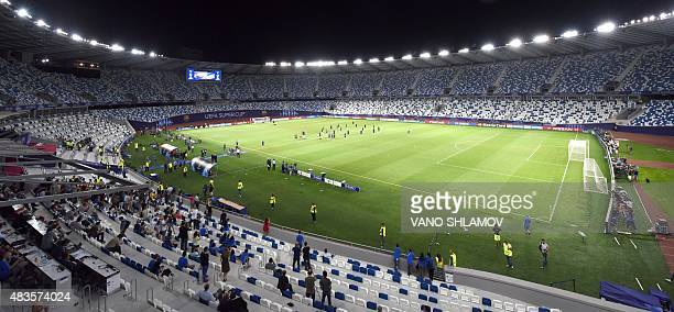 Barcelona's players take part in a training session on August 10 2015 at the Boris Paichadze Dinamo Arena in Tbilisi on the eve of the UEFA Super Cup...