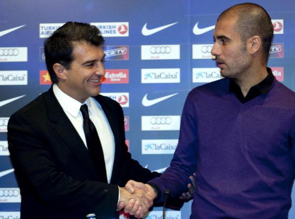 (L to R) Barcelona's president Joan Lapo : News Photo