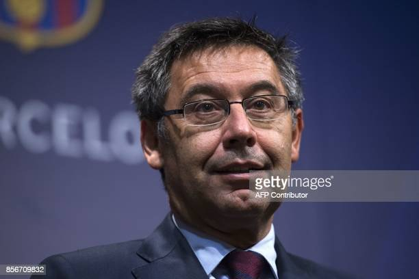 Barcelona's president Josep Maria Bartomeu answers questions from journalists during a press conference at the Camp Nou stadium in Barcelona on...