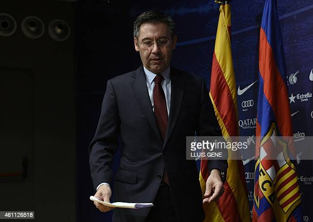 Barcelona's President Josep Maria Bartomeu arrives prior to a press conference at the Camp Nou stadium in Barcelona on January 7 2015 Bartomeu has...