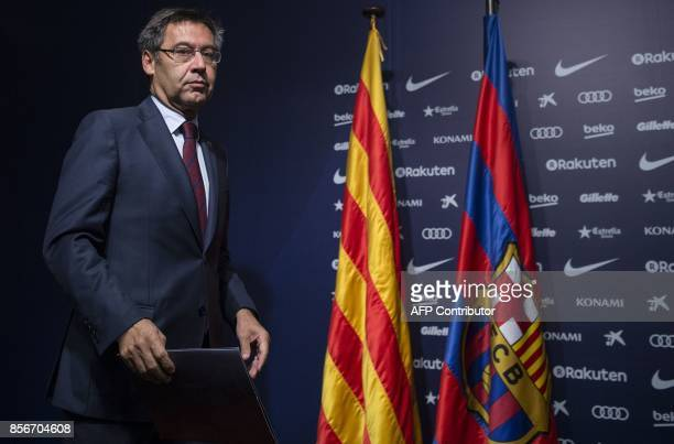 FC Barcelona's president Josep Maria Bartomeu arrives to give a press conference at the Camp Nou stadium in Barcelona on October 2 2017 Barcelona...