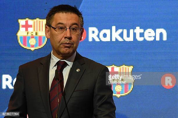 Barcelona's president Josep Maria Bartomeu delivers a speech after signing an agreement between FC Barcelona and its new sponsor Rakuten Inc at Camp...