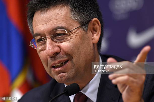 Barcelona's President Josep Maria Bartomeu gives a press conference at the Camp Nou stadium in Barcelona on January 7 2015 Bartomeu has called club...