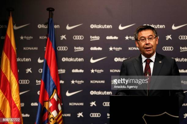 Barcelona's president Josep Maria Bartomeu holds a press conference on Catalonia's controversial illegitimate independence referendum at the Camp Nou...