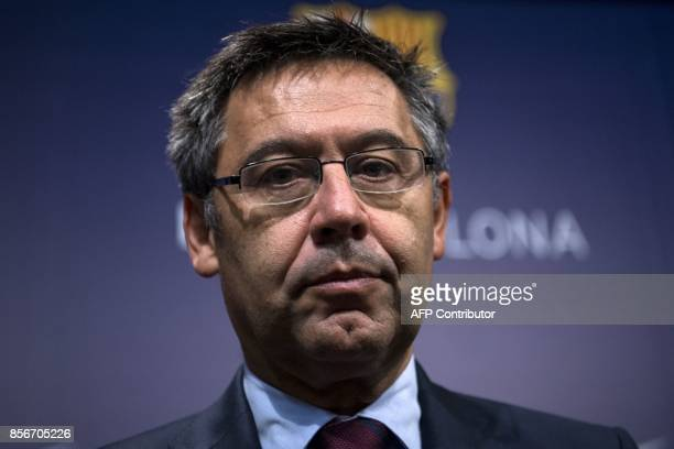 FC Barcelona's president Josep Maria Bartomeu looks on during press conference at the Camp Nou stadium in Barcelona on October 2 2017 Barcelona...